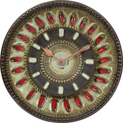 Wall clock in brown red ceramic - 1970s