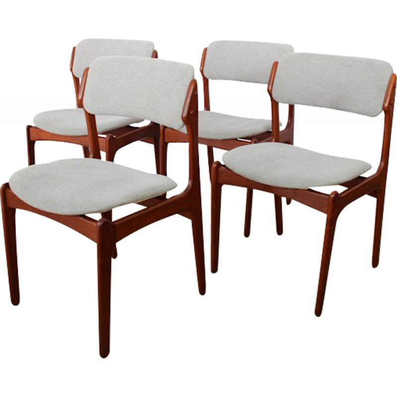 Set Of 4 Scandinavian Dining Chairs Erik Buch 1960s