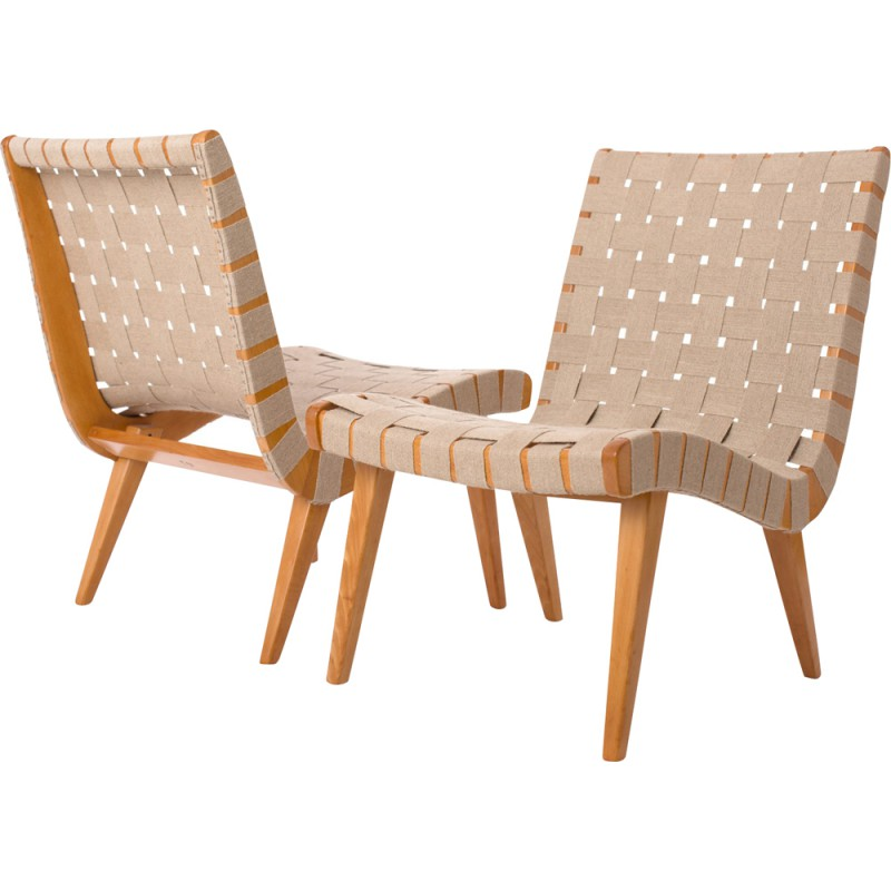 Knoll Armchairs In Wood And Hemp Jens Risom 1940s