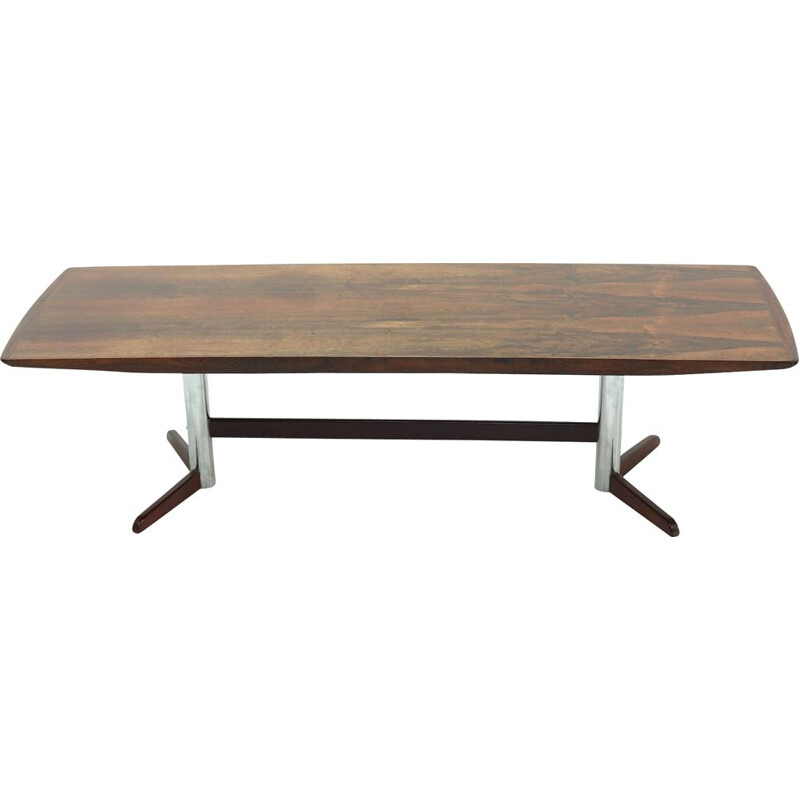 Mid Century Rosewood and Chrome Coffee Table 1960s