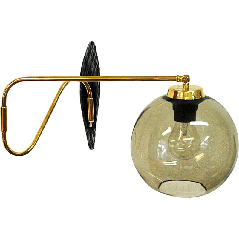 Vintage Wall lamp on brassarm with glassdome Høvik Verk, Norway 1950s