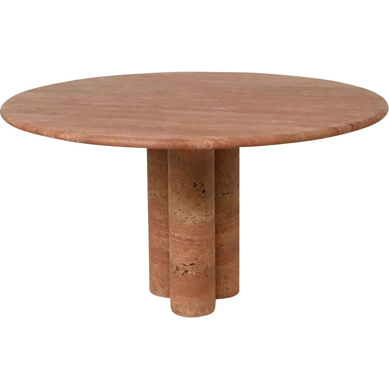 Vintage Red travertine dining table by Mario Bellini