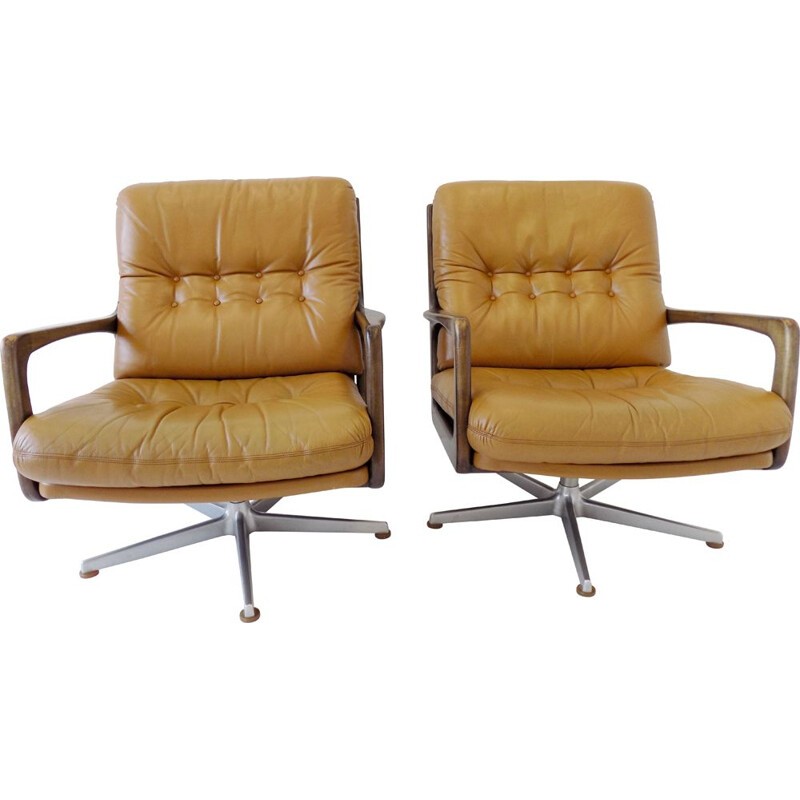 Pair of Vintage Eugen Schmidt caramel leather armchairs for Soloform 1960s