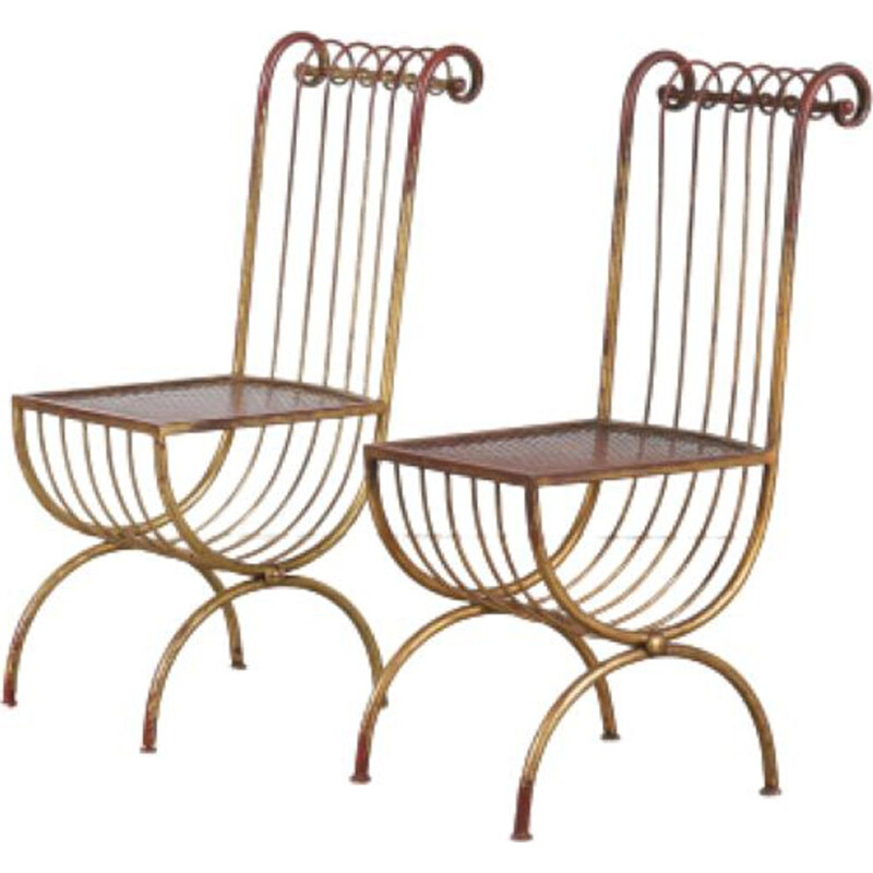 Pair of vintage Side Chairs by S. Salvadori, Italy 1950