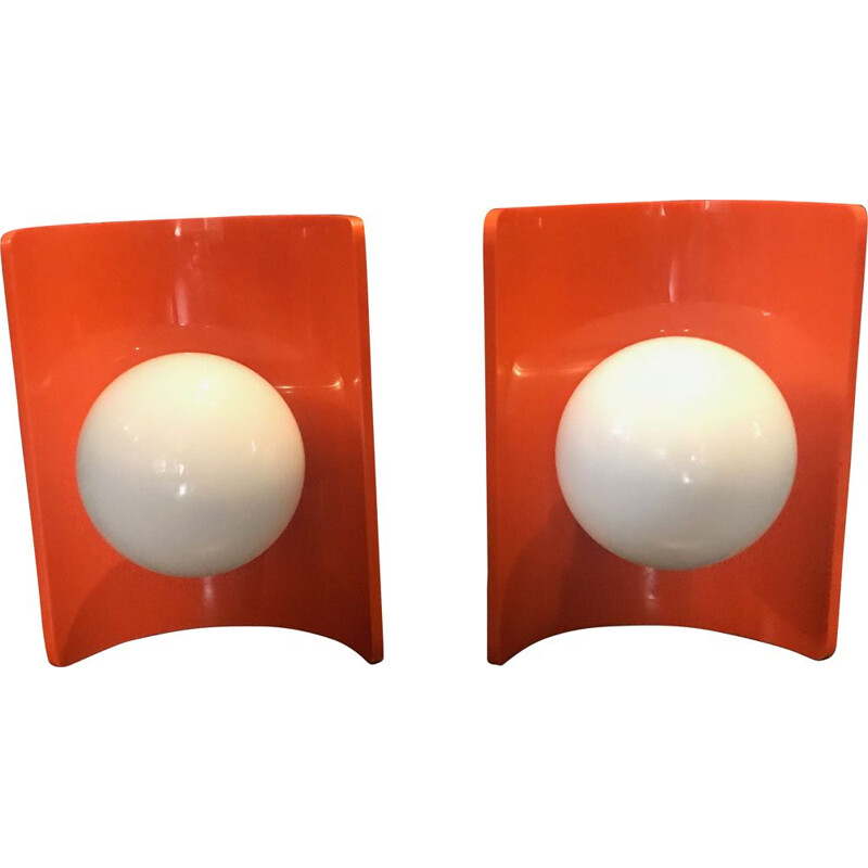 Pair of Vintage orange plastic wall lights and white opaque glass globe 1970