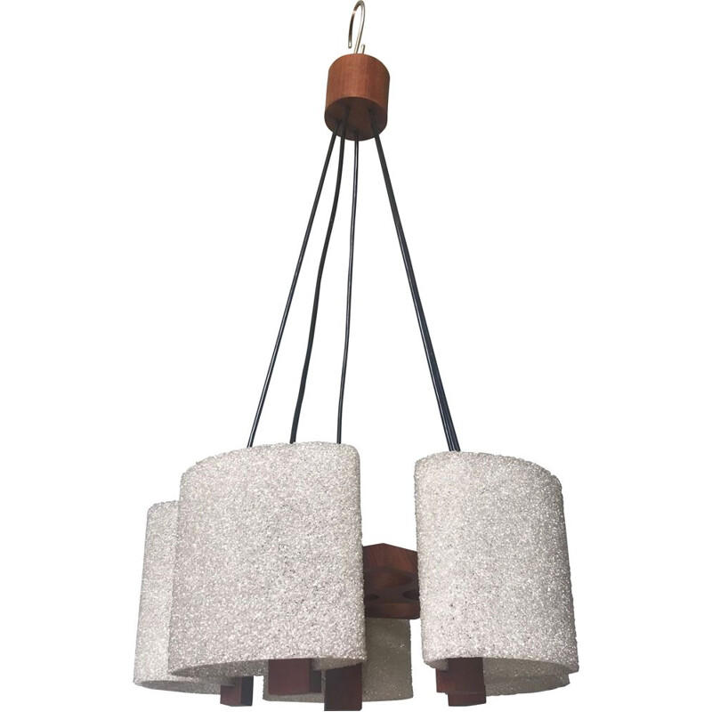 Vintage chandelier in wood and crushed plastic 1960