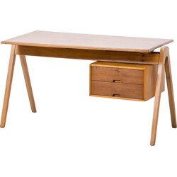 Hille desk in beech and cherrywood, Robin DAY - 1950
