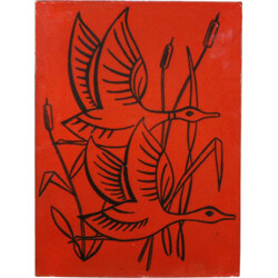 Wall decoration in ceramic with birds designs - 1960s