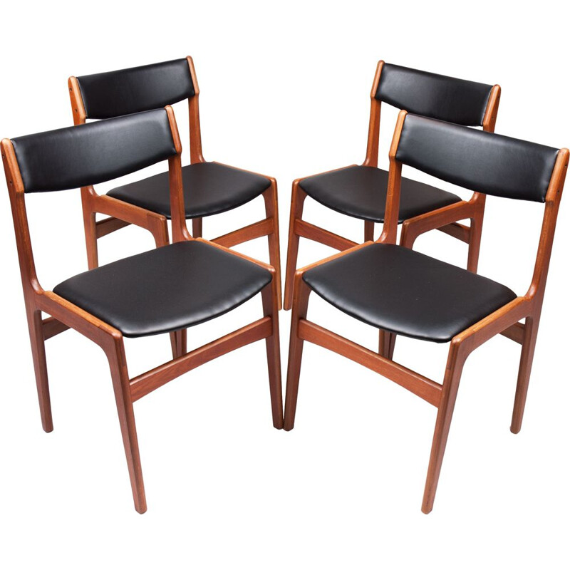 Set of 4 vintage dining chairs Teak by Erik Buch danish 1960s