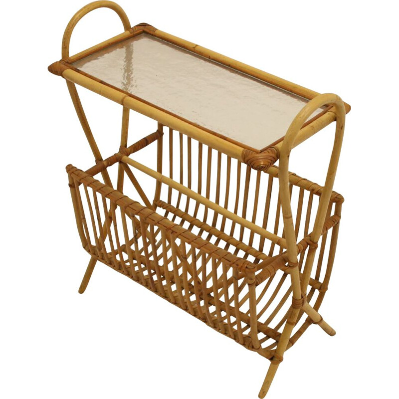Vintage Bamboo or Rattan Magazine rack with glass plate