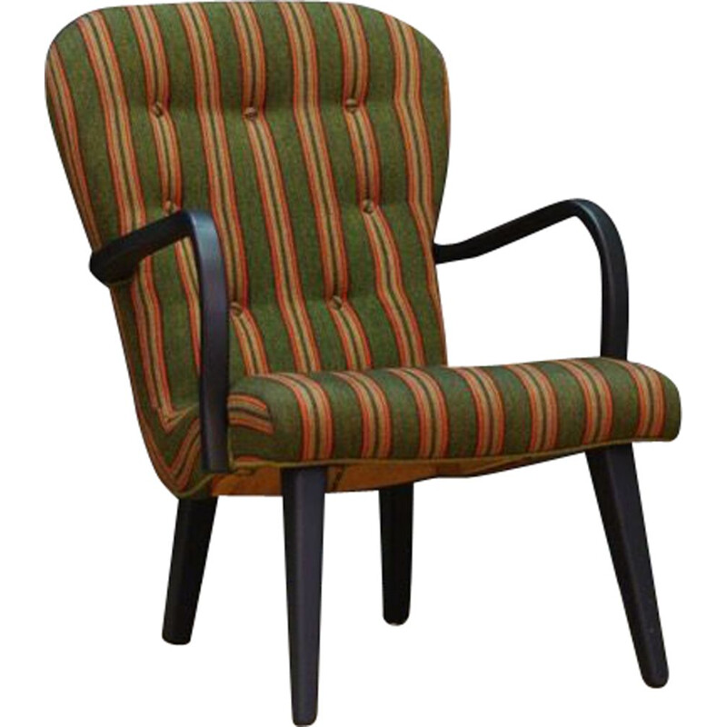 Vintage Armchair green orange and yellow stripes Scandinavian Danish 1970