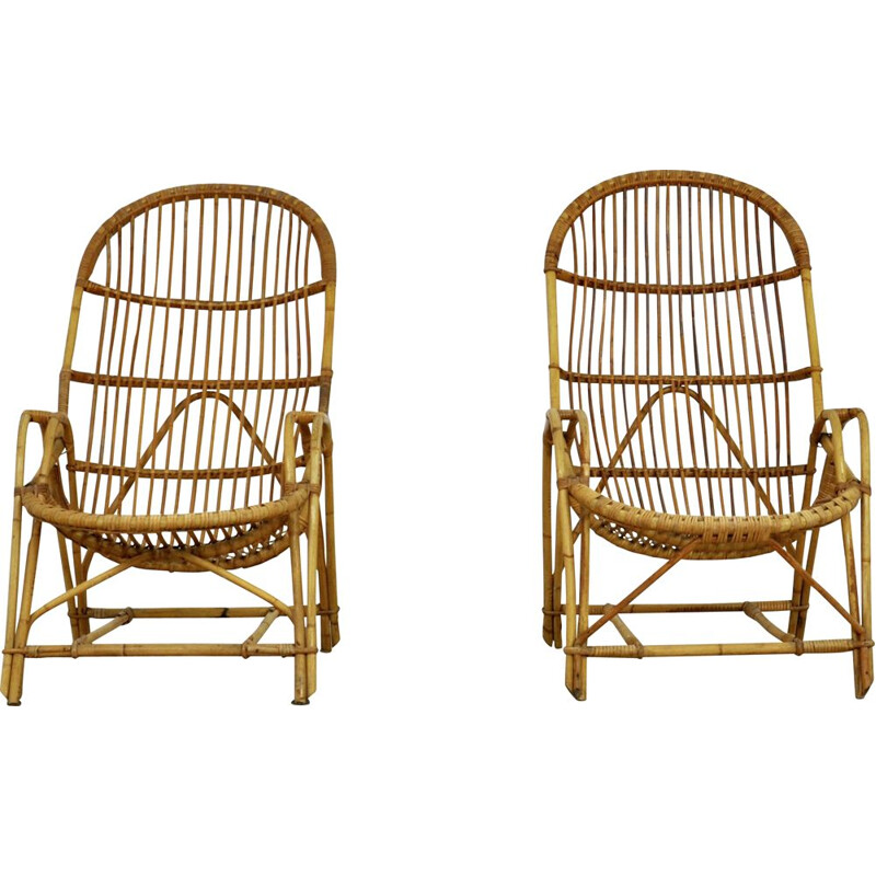 Pair of Vintage rattan armchairs 1960