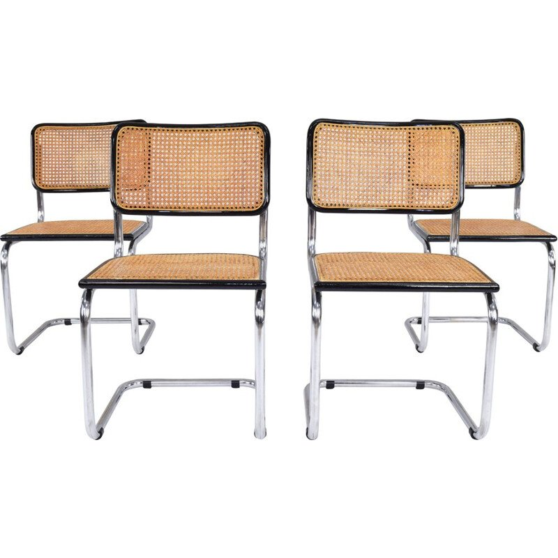 Set of 4 Mid-Century Chairs Marcel Breuer B32 Cesca Italy 1970s