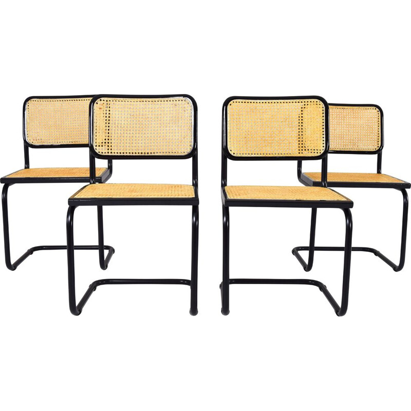 Set of 4 Black Mid-Century Chair B32  Marcel Breuer Cesca Italy 1970s