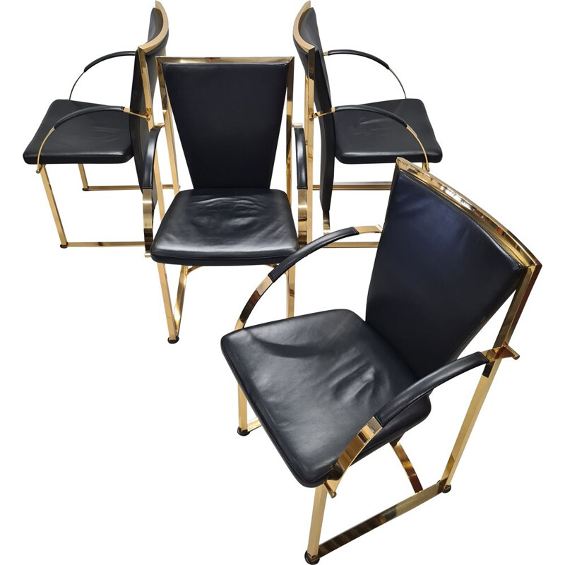 Set of 4 vintage brass & leather dining chairs by Ronald Schmitt, German