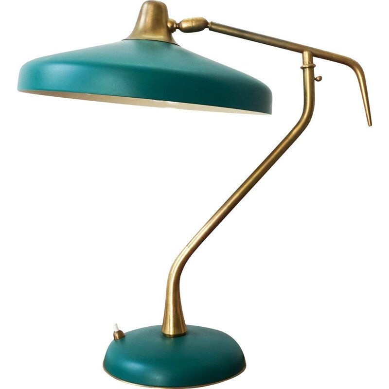 Vintage table lamp  brass and lacquered green aluminium by Oscar Torlasco for LUMI Milano Italy 1950