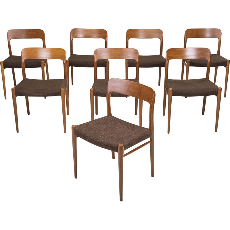Set of 8 Danish Model 75 Dining Teak Chairs by Niels Otto Møller for JL Møllers 1970s