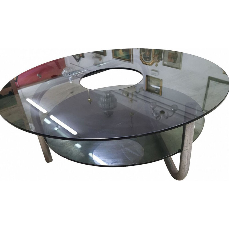 Vintage Coffee table in steel and smoked glass Italian 1970