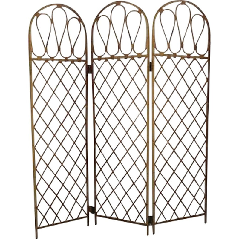 Vintage folding screen in rattan and bamboo 1970