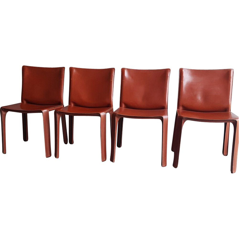 Set of 4 vintage chairs cab 412 brown leather by Mario Bellini cassina 1990