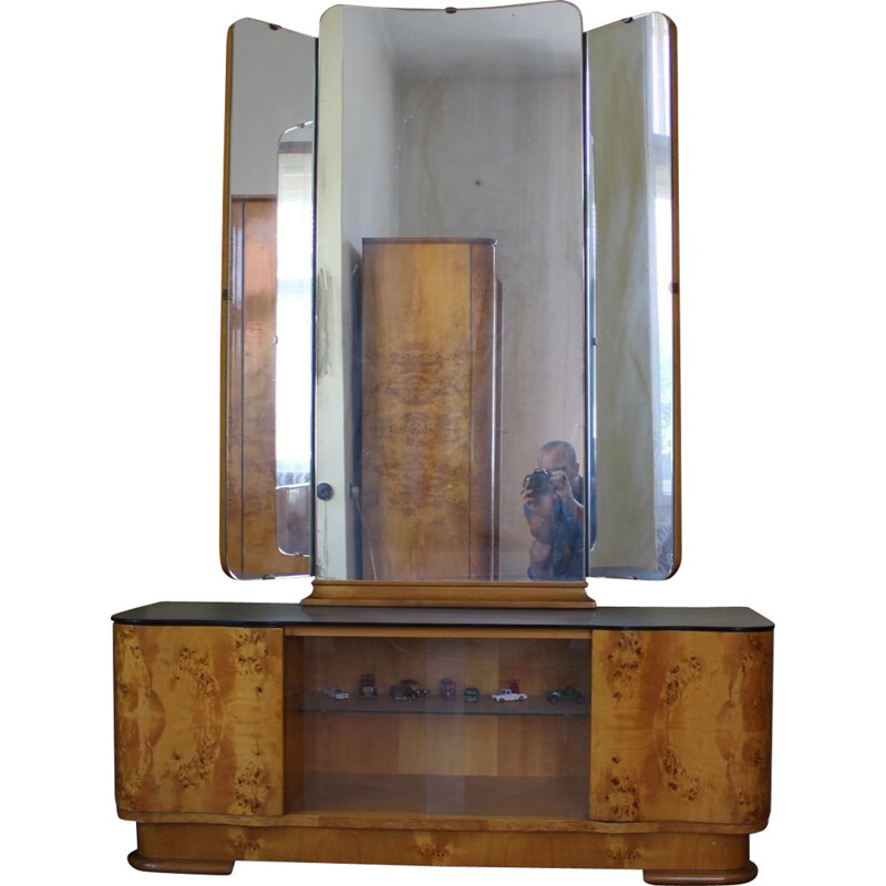 Vintage Dressing Cabinet with Mirror by UP Závody Czechoslovakia 1950s