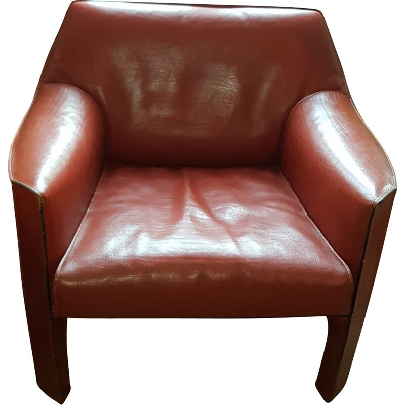 Vintage armchair CAB 415 brown leather by Mario Bellini for Cassina 1980