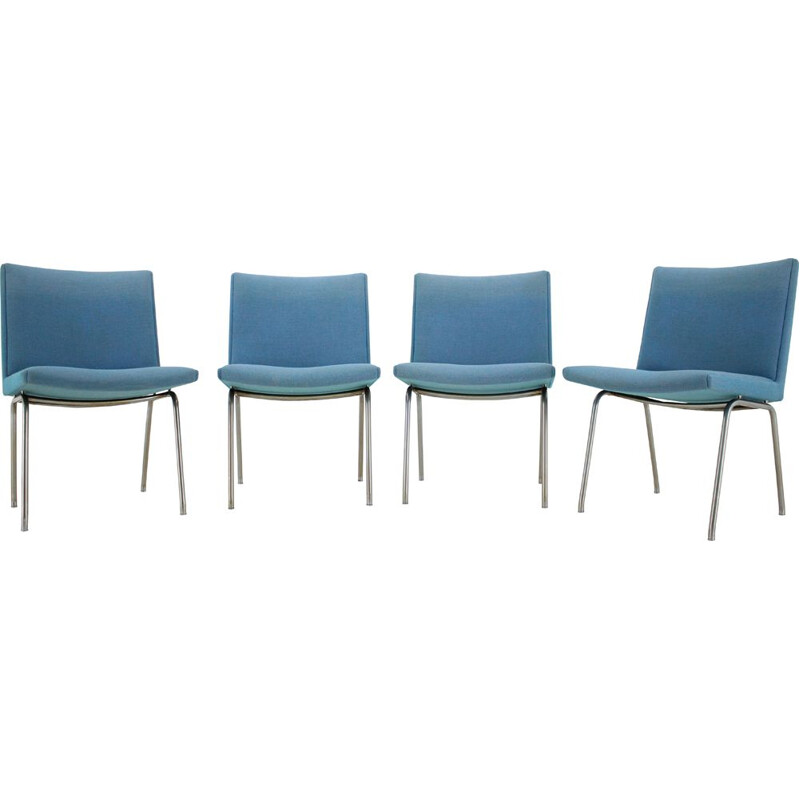 Set of 4 vintage Airport Lounge Chairs for A.P. Stolen, Hans J. Wegner 1960s