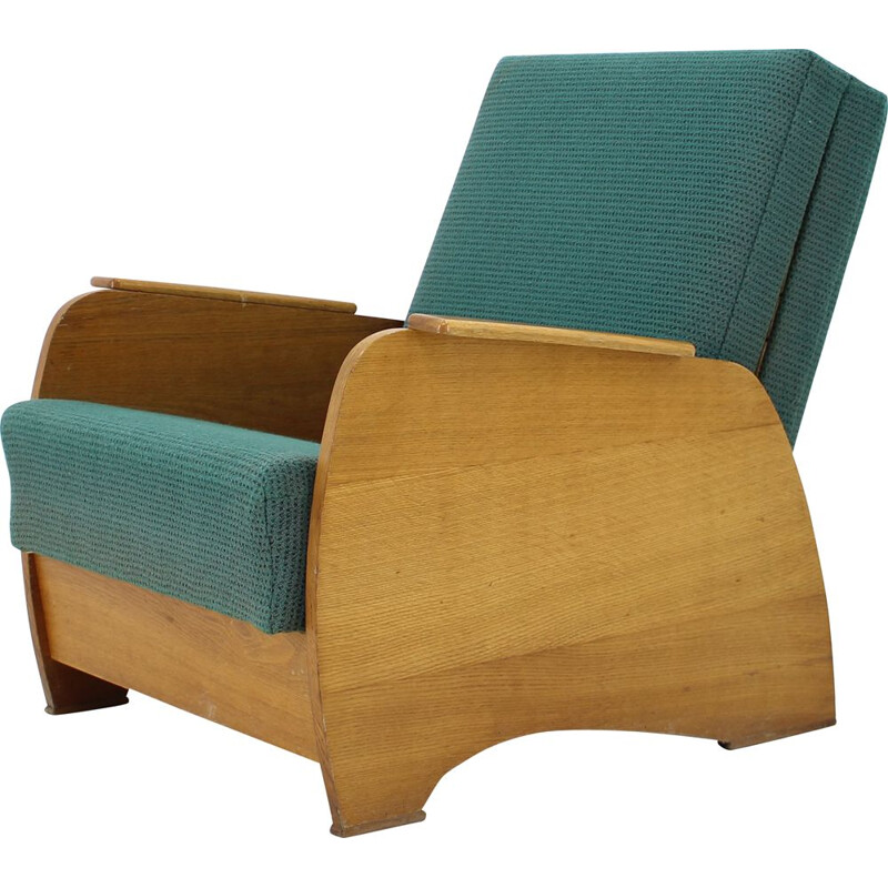 Vintage Armchair convertible to Daybed, Czechoslovakia 1960s