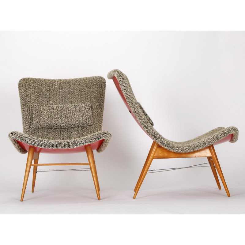 Set Of 2 Mid Century Czech Lounge Chairs, Miroslav NAVRATIL   1960s. Vintage  Design Furniture