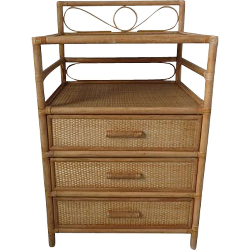 Vintage rattan and bamboo chest of drawers 1960s