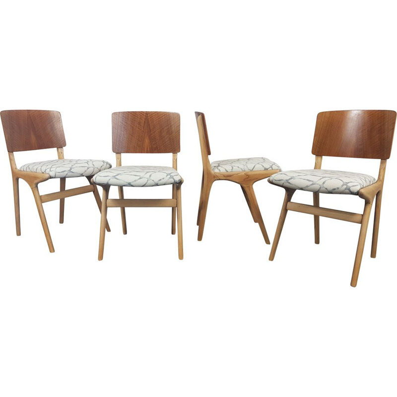 Set of 4 vintage Dalescraft Dining Chairs 1950s