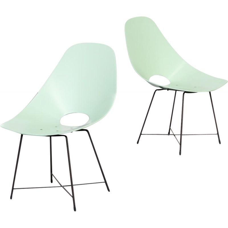 Pair of vintage Augusto Bozzi chairs for Saporiti 1950s