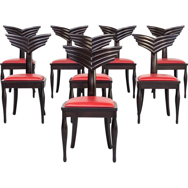 Set of 8 vintage Massimo Scolari Olimpia chair for Giorgetti 1990s