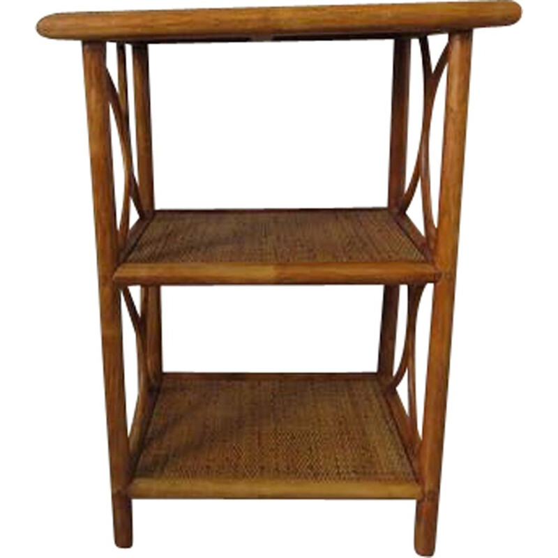 Vintage rattan and bamboo side table 1960