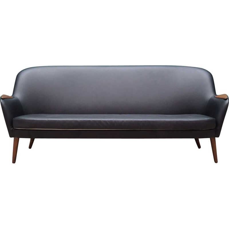Vintage Sofa black leather Danish 1970s