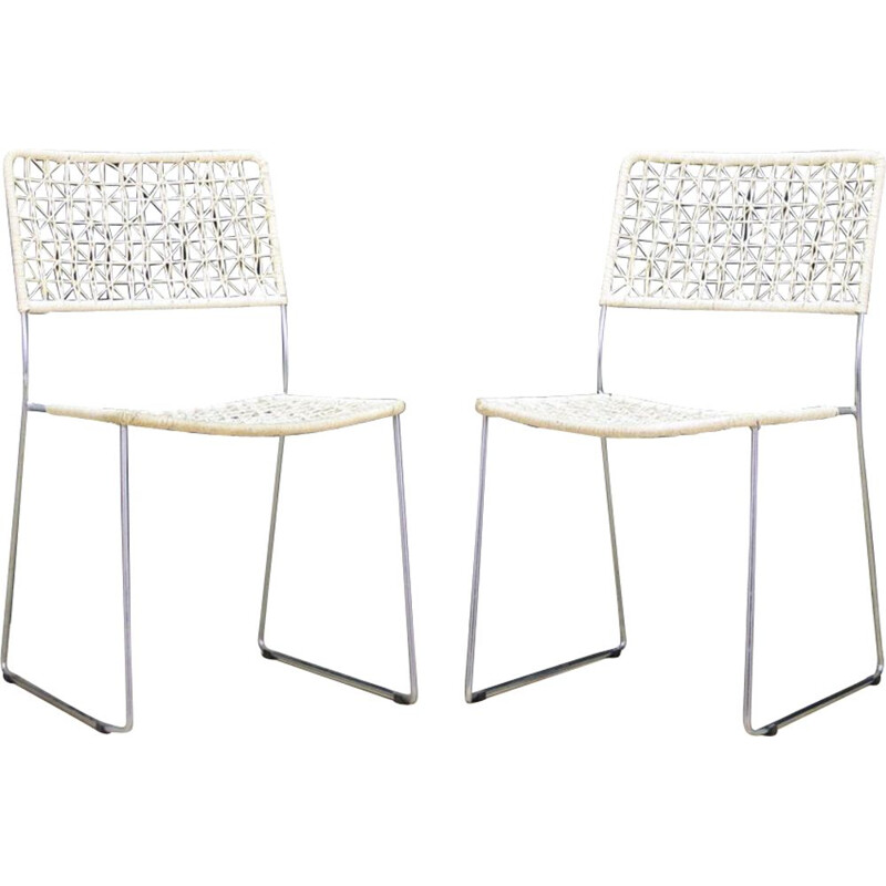 Pair of vintage dining chairs in aluminum scandinavian 1970s