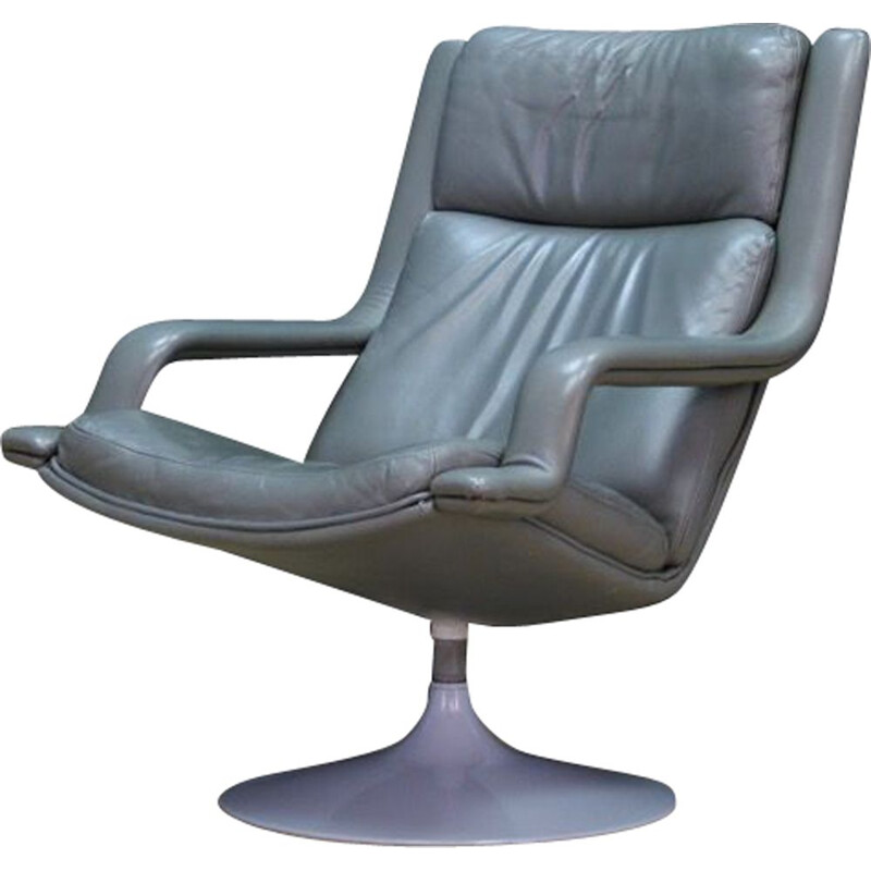 Vintage armchair Grey leather by Geoffrey Harcourt 1970s