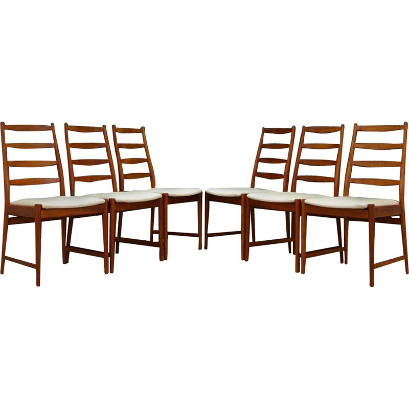 Lot of 6 vintage teak chairs for Vamo Sønderborg Scandinavian 1970s