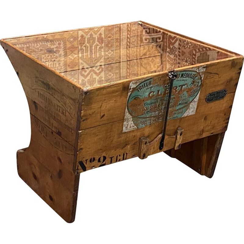 Vintage coffee table from a fir tree grain machine
