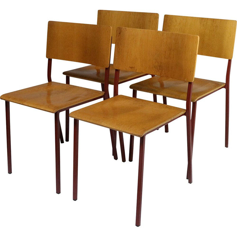 Set of 4 vintage stacking chairs with red frames 1970s
