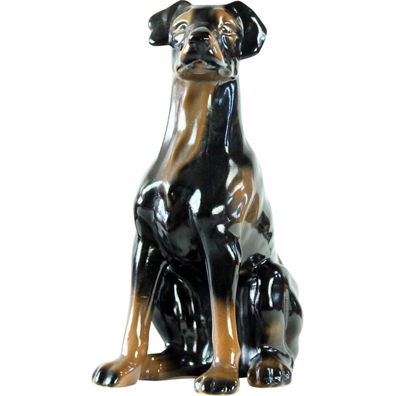 Vintage Doberman Pitcher Statue In Porcelain By Jikohera Czechoslovakia 1960s