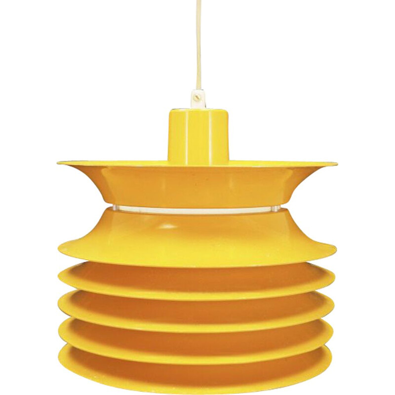 Vintage pendant lamp in yellow plastic scandinavian 1970s