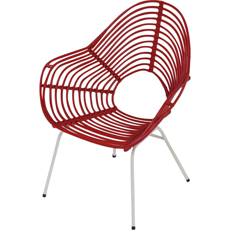 Vintage Red Rattan Chair by Rohe Noordwolde, 1960s