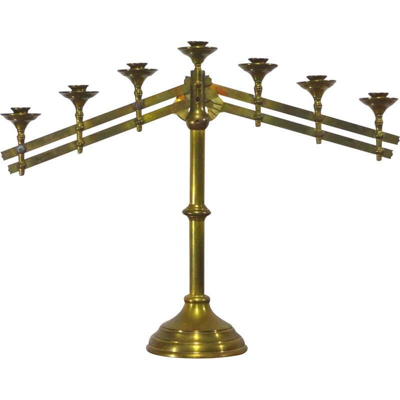 Vintage church candelabrum in gilded brass