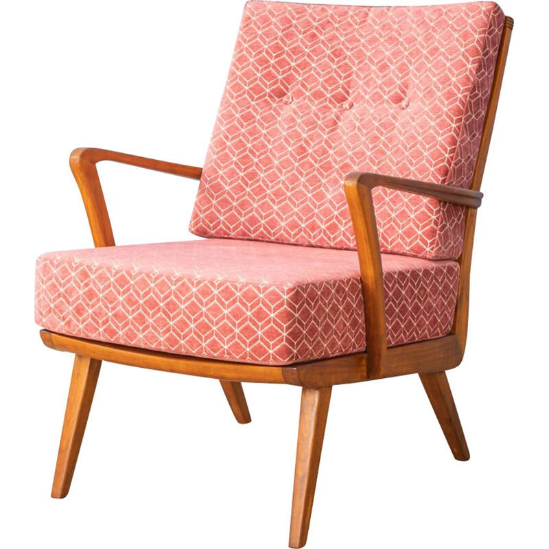 Vintage pink armchair in cherish wood by Knoll Antimott 1950s