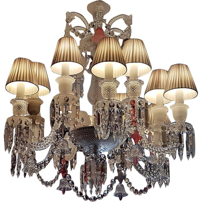 Vintage Baccarat set zenith chandelier 12 arms by Philippe Starck