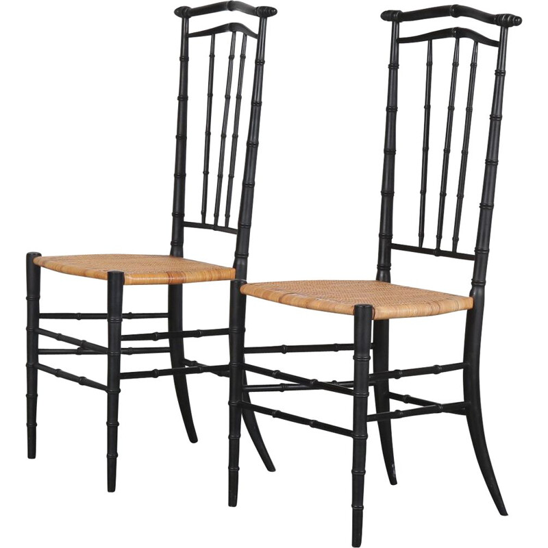 Pair of vintage Chiavari chairs from Italy 1960s