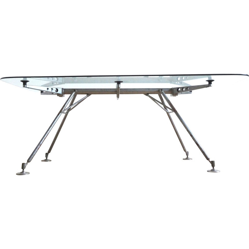 Dining table in glass and metal, Norman FOSTER - 1980s