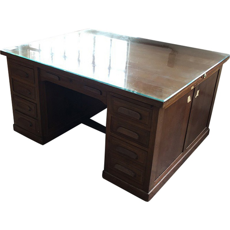 Mid Century Double Sided Desk In Wood 1970s