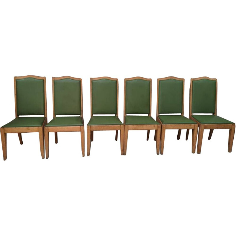 6 chairs vintage Gaston Poisson oak art deco 1940